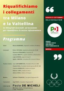 Riqualifichiamo i collegamenti tra Milano e la Valtellina, l'incontro a Monza il 21 settembre