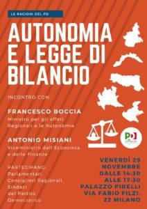 Incontro con con Francesco Boccia, Ministro per gli Affari Regionali e le Autonomie Antonio Misiani, Viceministro dell'Economia e delle Finanze. Parteciperanno Parlamentari, Consiglieri regionali e Sindaci del Partito Democratico.